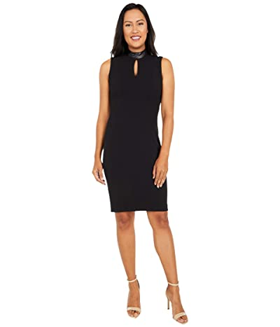Calvin Klein Sheath Dress with Faux Leather Neck and Keyhole (Black) Women