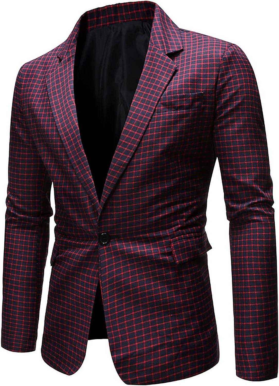 Suit for Men's Premium Business Blazer Fashion England Style Plaid Printed Slim Formal Dress Coat Jacket