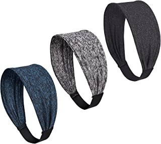 icyzone Sports Headbands for Women - Highly Absorbent Non-Slip Yoga Running Workout Sweatbands(Pack of 3)