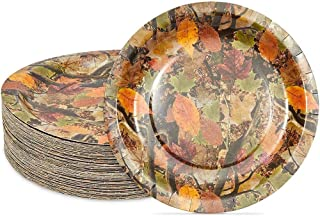 Camouflaged Paper Plates for Birthday Party (9 In, 80 Pack)