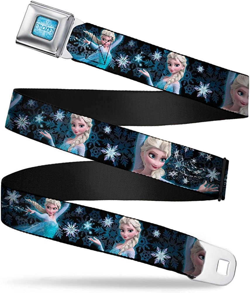 Buckle-Down Seatbelt Belt - Elsa the Snow Queen Poses PERFECT AND POWERFUL Blues/White - 1.0