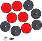 BANBAN 10Pcs Rear Reflector, Round Reflectors with Bolts and Nuts Screw on Rear Reflective, Post Reflectors for Gate Posts for Caravan/Truck/Trailer/Boat/Motorcycle Fence Gate Posts, Red