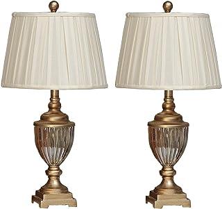 U'Artlines Lot de 2 Lampe de Table Chevet Touch Moderne Abat-jour en Lin Pied Métal élégant Simple Style Hauteur 63.5cm/25...