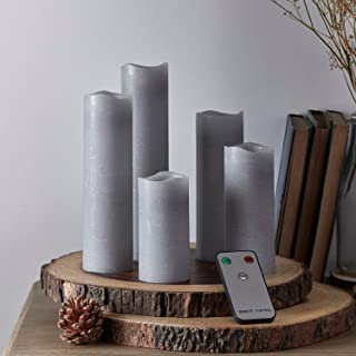 Lights4fun, Inc. Set of 5 Gray Wax Battery Operated Flameless LED Pillar Candles with Remote Control