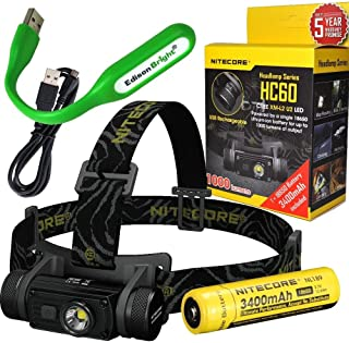 Nitecore HC60 1000 Lumens CREE XM-L2 U2 LED dual-form compact headlamp bundled with NL189 rechargeable Li-ion battery and EdisonBright USB powered LED reading light