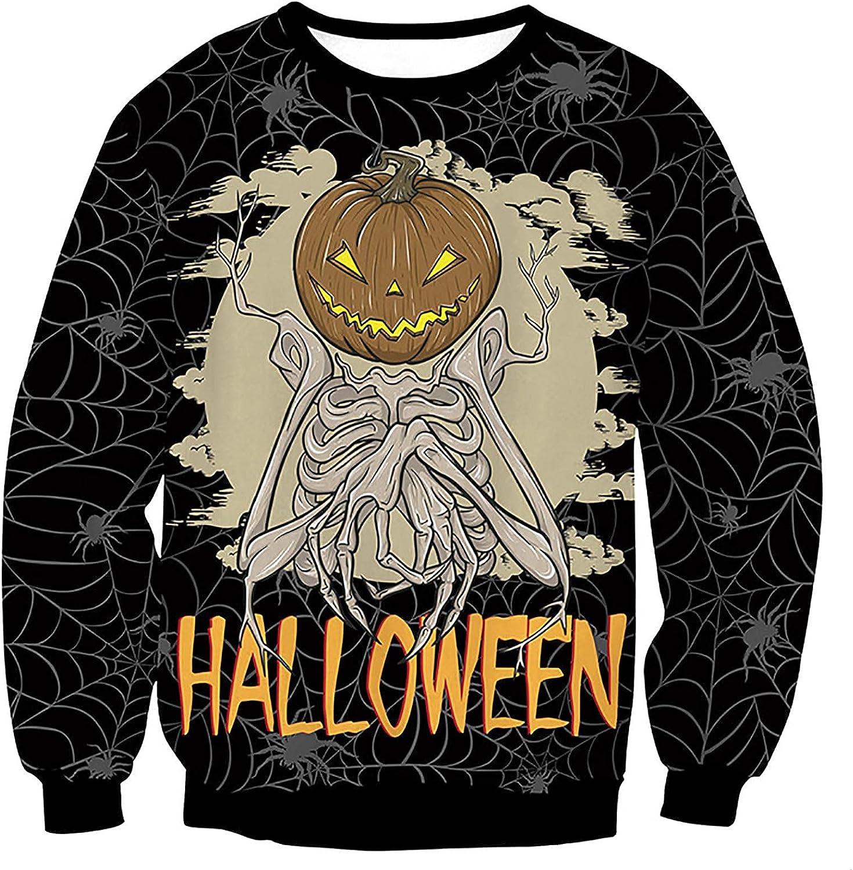 Bravetoshop 3D Printed Sweatershirt for Men, Men's Halloween Novelty Graphic Crewneck Long Sleeve Pullover Tops