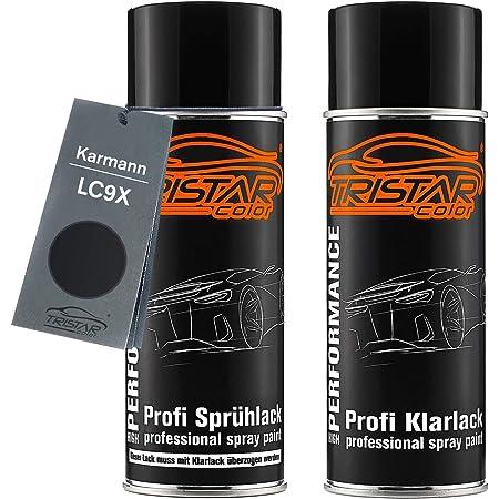 Tristarcolor Autolack Spraydosen Set Für Karmann Lc9x Deep Black Perl Black Perl Basislack Klarlack Sprühdose 400ml Auto