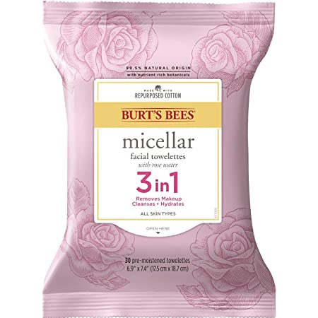 Burt's Bees 3 in 1 Micellar Facial Cleanser Towelettes and Makeup Remover Wipes with Rose Water, Made with Repurposed Cotton, 30 Count