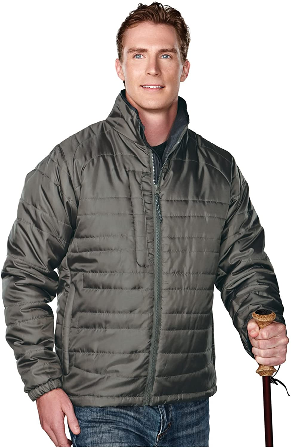 Tri-Mountain Men's 100% Polyester Rib- stop long sleeve quilt jacket with water resistent, 3XL, MOSS/CHARCOAL