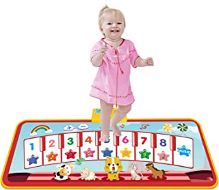 TECBOSS Kids Musical Mats, Piano Keyboard Dance Mat Touch Playmat, Early Educational Toys for Girls Boys Toddlers