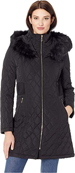 Quilt Jacket with Side Zipper and Detachable Fur Hood