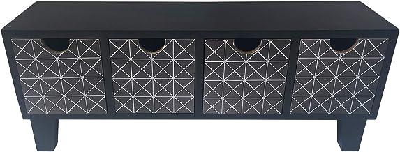 Rebecca Mobili Mini Chest of Drawers Black Beige Modern Wood 4 Drawers Accessories Bathroom Bedroom Kitchen - 16,5 x 43 x ...