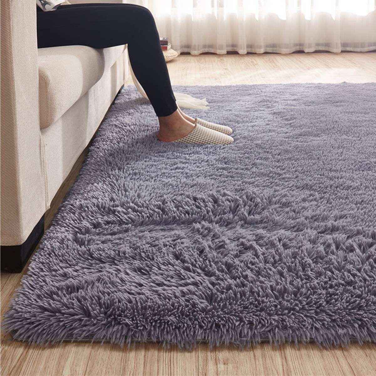 Candeal 120x80cm Fluffy Area Rugs Anti Skid Yoga Carpet For Living Room Rugs Bedroom Silver Grey Buy Online In Bangladesh Can Deal Products In Bangladesh See Prices Reviews And Free Delivery