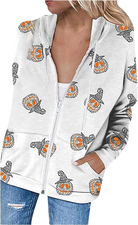 Women's Hoodie Coat Halloween Printed Loose Plus Size Long Sleeve Zipper Up Cardigan Sweatshirt Jacket Tops