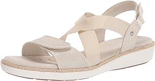 Grasshoppers Women's Leah 2-Strap Sandal Metallic Linen Sneaker, Gold, 9 M US