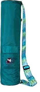 Fox Hill Fitness Yoga Mat Bag for Kids, Sling Carrier 2 Pockets, Fully Lined with Side Zipper and Adjustable Sequin Strap