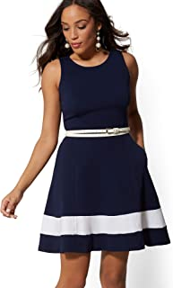 New York & Co. Women's Colorblock Fit And Flare Cotton Dress