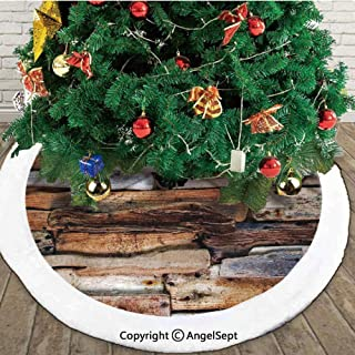Wooden Theme Driftwood and Knotty Planks Vintage Design Digital Image,Fashion Christmas Tree Skirt,Brown,48 inches,for Party Holiday Decorations Indoor Outdoor