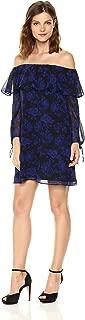 Women's Blue Rose Print Off The Shoulder