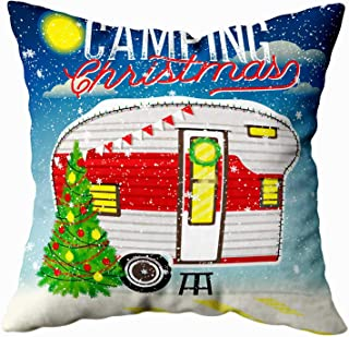 Decorative Pillows for Couch,EMMTEEY 16x16 Inch Pillow Covers Home Throw Pillow Covers Christmas Card with Winter Camp Christmas Vintage Travel Poster with Travel Trailer Square Double Sided,Green Red