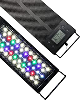 Luz LED Acuario, Iluminación LED para Acuarios Plantados Lámpara LED para Peceras Bombilla LED Impermeable para Acuarios de Agua Dulce IP68 Con temporizador 18W 30cm