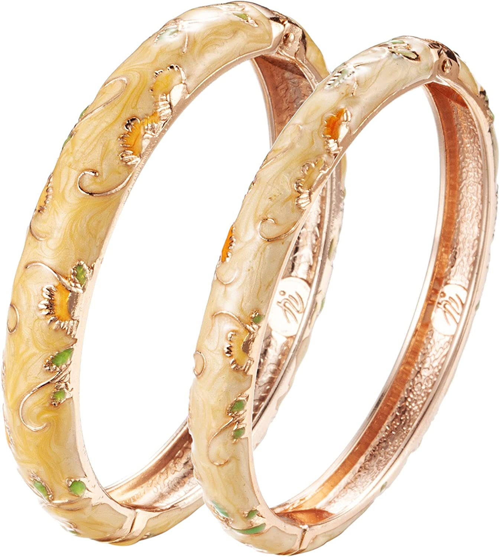 UJOY Handcrafted Cloisonne Bangle Bracelets Golden Butterfly Enamel Metal Handcuff Jewelry Set Box Gift for Women 55A108-55B30