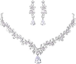 LILIE&WHITE Clear Crystal and Cubic Zircon Necklace and Earrings Jewelry Set for Women Wedding Accessories