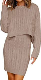 Womens Cable Knit Sweater Dress 2pcs Long Sleeve Pullover Oversized Batwing Crop Top Mini Bodycon Pencil Skirt Suit Sets