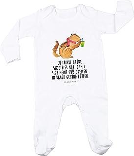 Mr. & Mrs. Panda Mr. & Mrs. Panda Geschenk, Schlafanzug, 3-6 Monate Baby Strampler Eichhörnchen Smoothie mit Spruch - Farbe Weiß