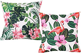 ULOVE LOVE YOURSELF Tropical Throw Pillow Cover Flamingo with Pink Flower Green Leaves Home Decorative Square Cushion Covers 18×18 inch,2Pack (Flamingo&Flower Leaves)