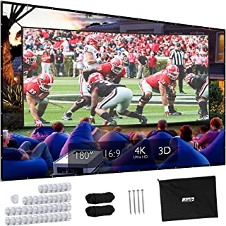 Projector Screen, Upgraded 180 inch 4K 16:9 HD Portable Projector Screen, Premium Indoor Outdoor Movie Screen Anti-Crease ...