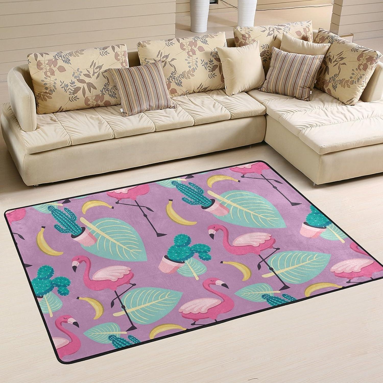Jpopo Flamingo Cactus Doormat Entrance Mat Floor Mat Rug Indoor Bathroom Mats Polyester Non Slip (36  L x 24  W 72 L x 48  W)