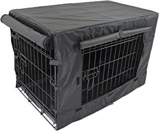 Pet Dog Crate + Waterproof Cover | Metal Folding Cage Portable Kennel House Training Puppy Kitten Cat Rabbit with Removabl...
