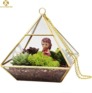 Kimdio Artistic Clear Glass Geometric Terrarium Flower Pot Hanging Window Sill Balcony Tabletop Wedding Decor DIY Display Container Pearl Diamond Holder for Succulents Fern Moss Air Plants Gift- Gold