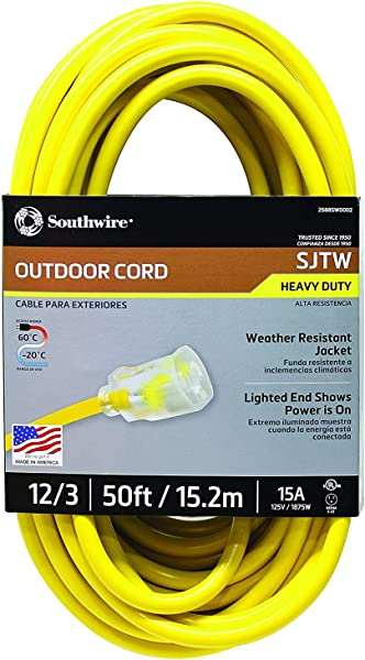 Southwire 2588SW0002 Outdoor Extension Cord 12 3 American Made SJTW Heavy Duty 3 Prong Extension Cord Great For Commercial Use Gardening And Major Appliances 50 Foot Yellow