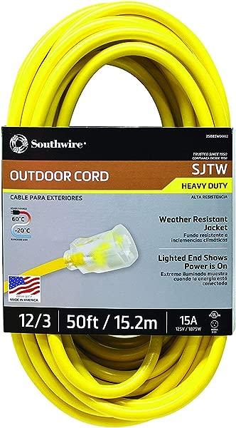 Southwire 2588SW0002 户外延长线 12 3 美国制造 SJTW 重型 3 爪延长线非常适合商业用途园艺和主要电器 50 英尺黄色