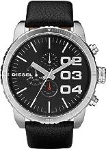 Diesel Men's Advanced Stainless Steel Quartz Watch with Calfskin Strap, Black, 26 (Model: DZ4208)