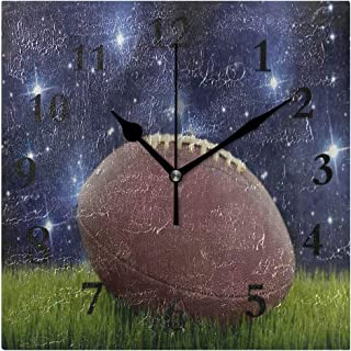 FunnyCustom American Football Green Grass Starry Field Square Wall Clock 7.8 Inch Hanging Clock for Living Room/Kitchen/Bedroom