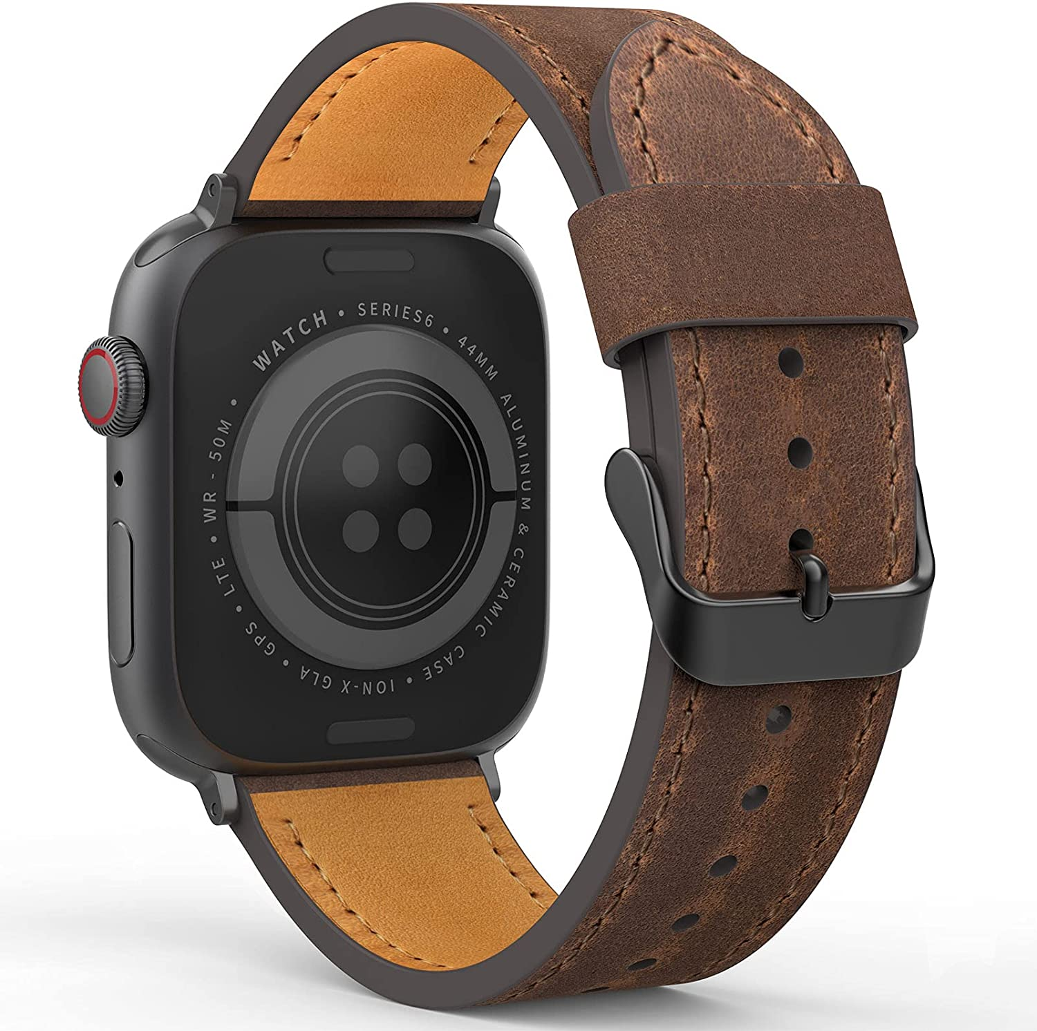 Dowsabel Compatible with Apple Watch Bands 44mm 42mm 40mm 38mm, Vintage Genuine Leather Replacement Straps Loop Men Women for iWatch SE & Series 6 5 4 3 2 1