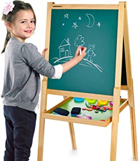 Merkell Deluxe Tableau Noir et Blanc Multifonction Avec Accessoires, Tableau Double Face, Enfant, Tableau Magnétique, Tabl...