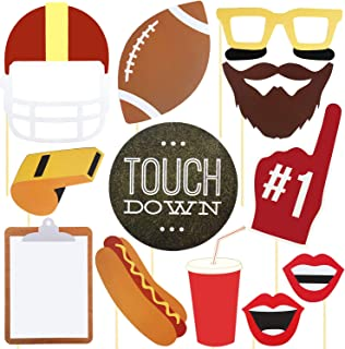 Super Bowl Photo Booth Props Kit - 17 Pieces Big Size Football Photo Props Party Favors, Touchdown Frenzy Birthday Sport Party Decoration, Selfie Dress-up Shoot Props for Theme Son Boy Party Game Day