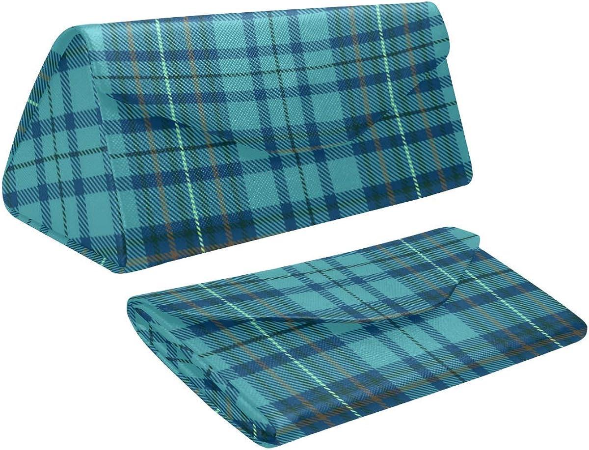 Glasses Case Scottish Plaid Tartan Eyeglass Case Leather Magnetic Folding Hard Case Sunglasses Eyewear Protective Case