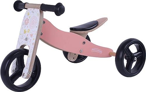 MATTI Holzfürrad 2 in 1 Dreirad und Laufrad aus Holz, Kinderfürzeug mit Gummir r, Farbe Rosa
