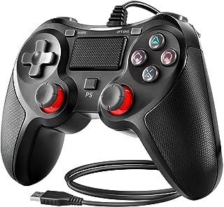 BuFan Mando PS4, Joysticks con Seis ejes Dual Vibration Gamepad para PS4 / PS3 / PC (Windows XP/7/8/8.1/10) /Android/Steam, Negro