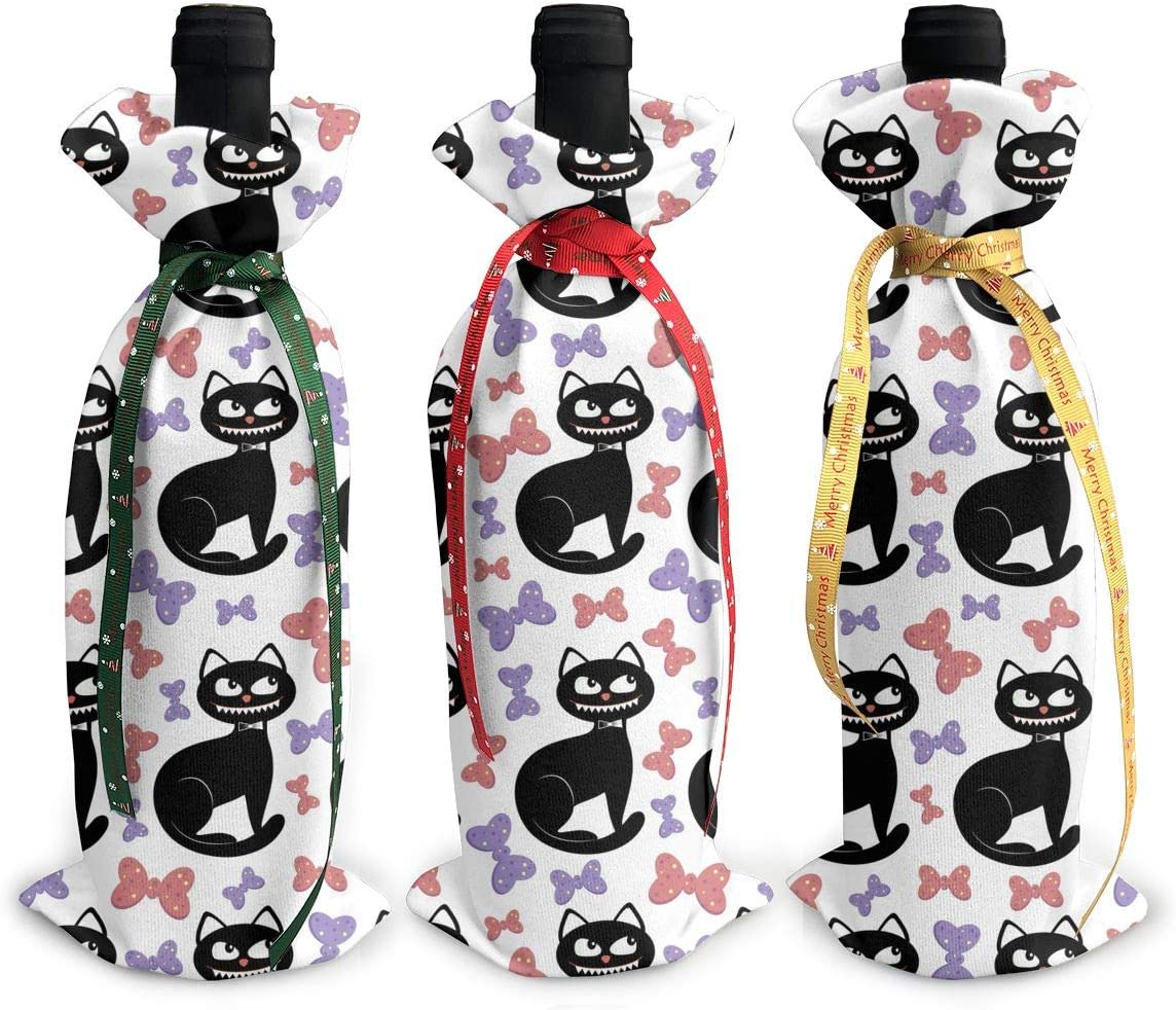 Happy Halloween Cute Black Cat Fall3Pcs Recommended Indianapolis Mall Red Wine Xmas Christmas