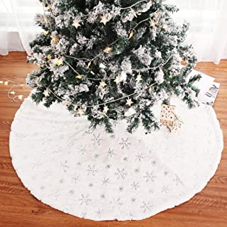 DotPet Christmas Tree Skirt, Round Tree Skirt with Snowflake Sequin Embroidery Decorations Plush 35.4 inch White Tree Skirts, Special for Christmas Holiday Festive Decor (Silver Sequin)