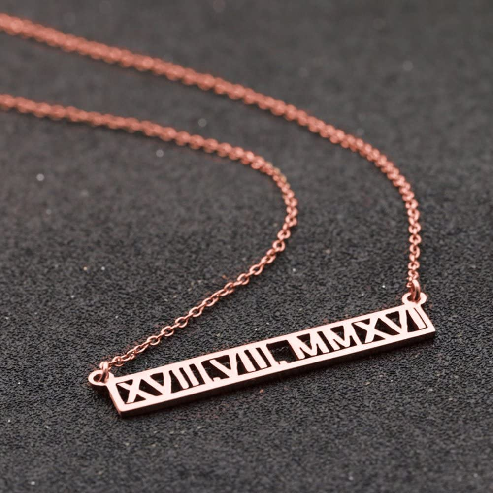 Handmade Personalised Sterling Silver 925 Rectangular Bar with Roman Numerals.