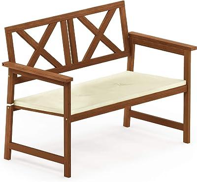 Furinno FG18113C Tioman Hardwood Outdoor Patio Furniture X-Back Bench in Teak Oil, 1, Natural