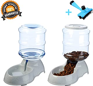 Ancaixin Automatic Cat Feeder and Water Dispenser in Set with Slicker Brush Gift for Small Large Dog Pets Puppy Kitten Big Capacity 1 Gallon x 2