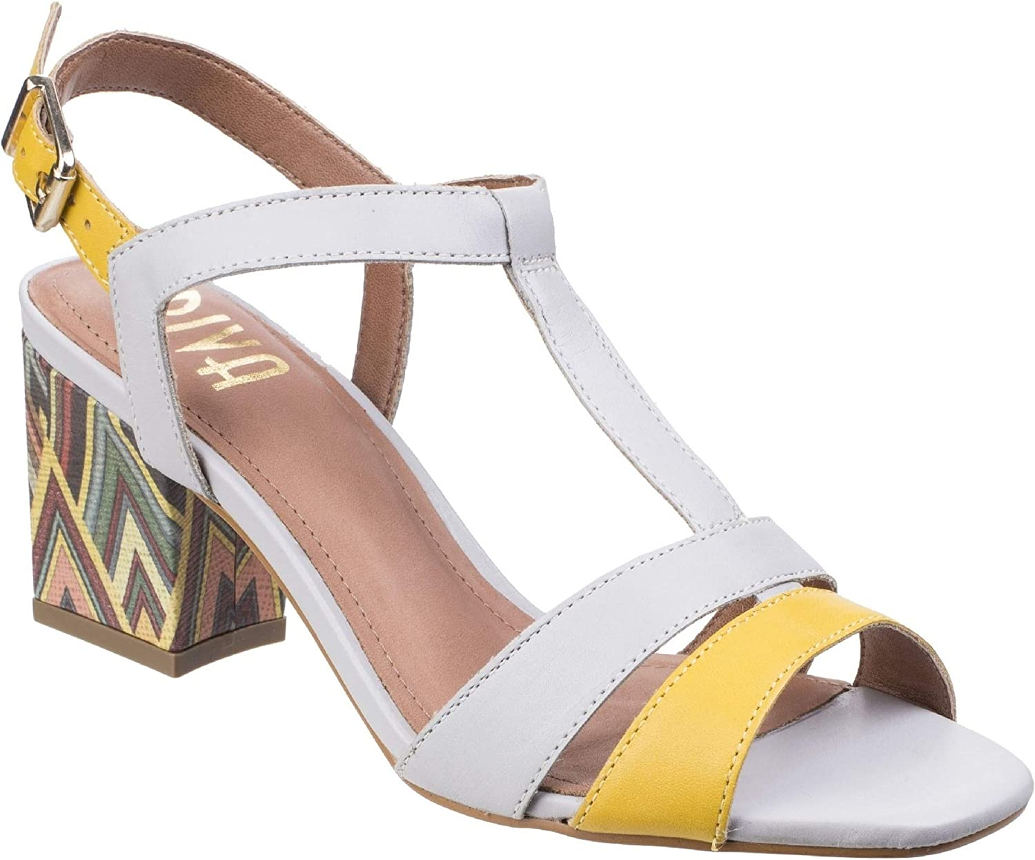 Riva Womens Ladies Palmira T-Bar Block Heeled Leather Sandals